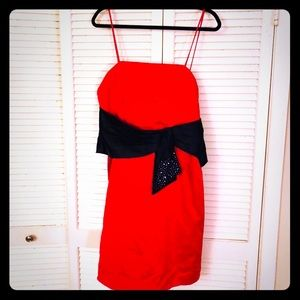 🌺NEW🌺EUC VTG hot red formal dress w/black sash